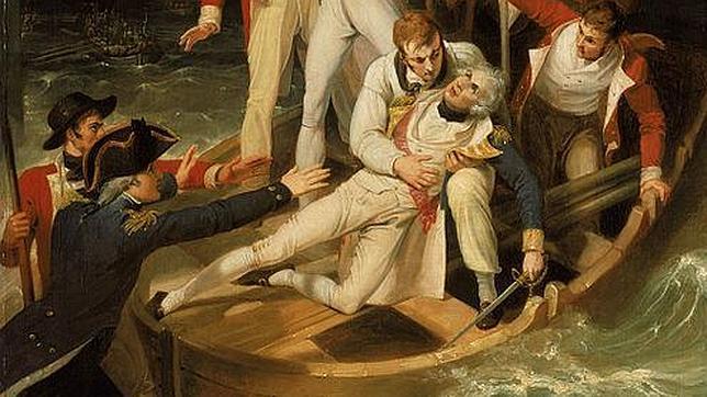 Detalle del cuadro de Richard Westall que recrea el desmayo de Nelson al ser herido en su brazo derecho en Tenerife